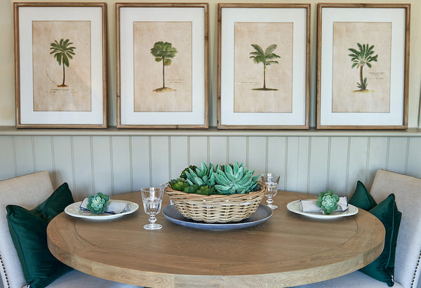 Newport contemporary weathered oak dining table with tropical palm prints in background