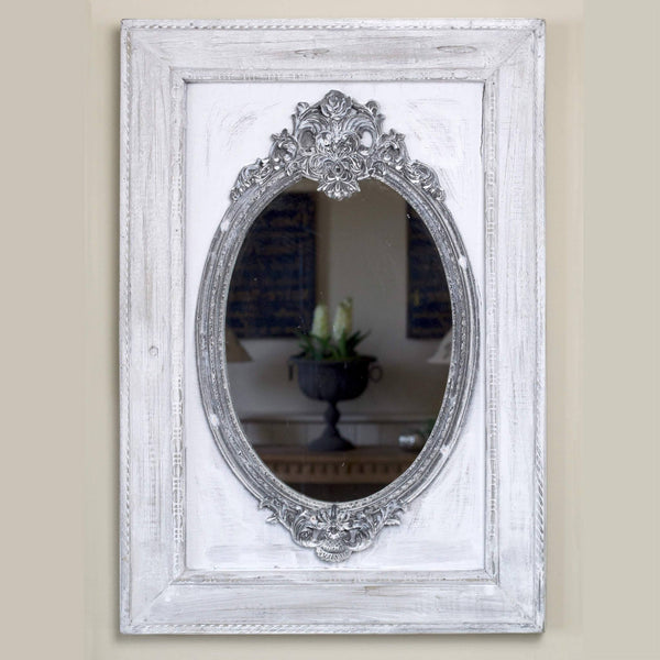 Small French-style mirror on grey painted wooded frame