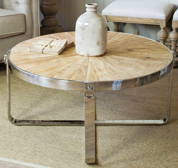 Sylvine wood and metal coffee table