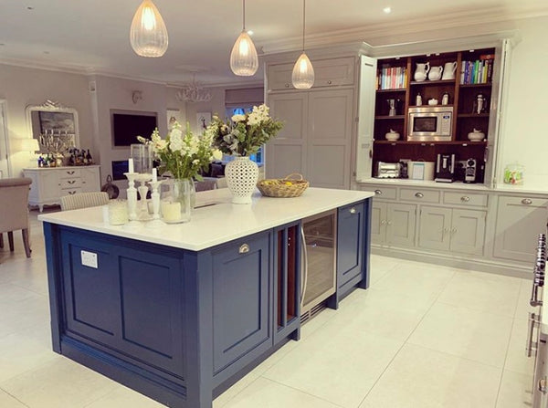 Blue kitchen island @thehousebuild courtesy Becks Doyle
