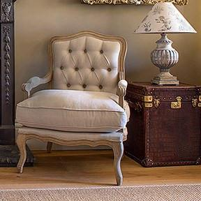 Louis buttoned back armchair in oatmeal
