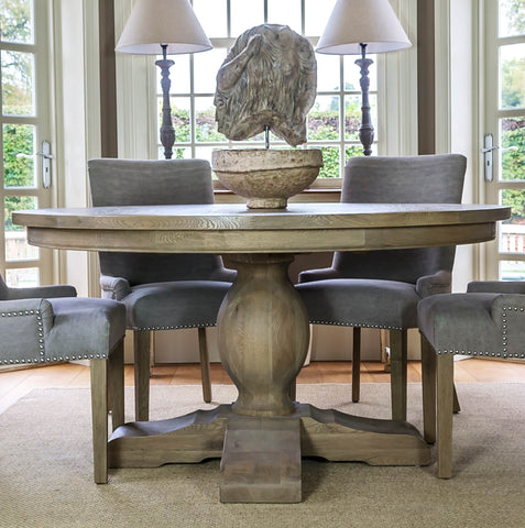 Large Round Weathered Oak Dining Table