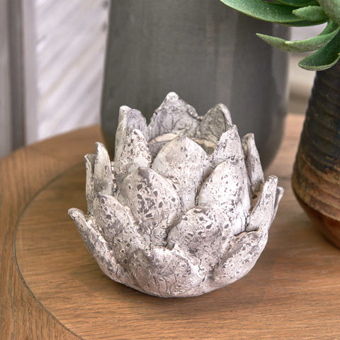 Stone Artichoke Candle Holder