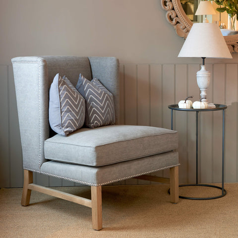Large Luxury Armchair Aston in Dove Grey Linen