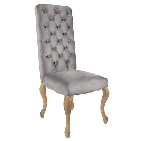 Burford Dining Chair In Grey Velvet