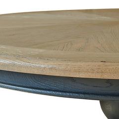 Belmont Round Oak Table with Black Painted Pedestal