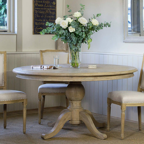 Belmont Round Dining Table Weathered Oak