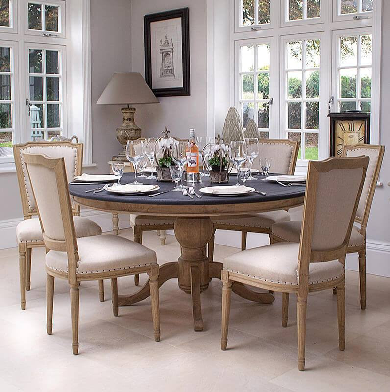Round Pedestal Dining Table French Oak Dining Table La