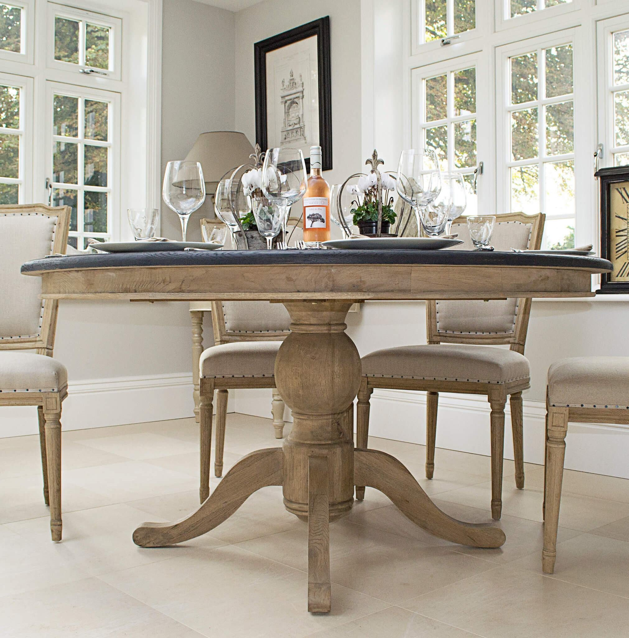Belmont Oval Dining Table Black Painted Top La Residence Interiors