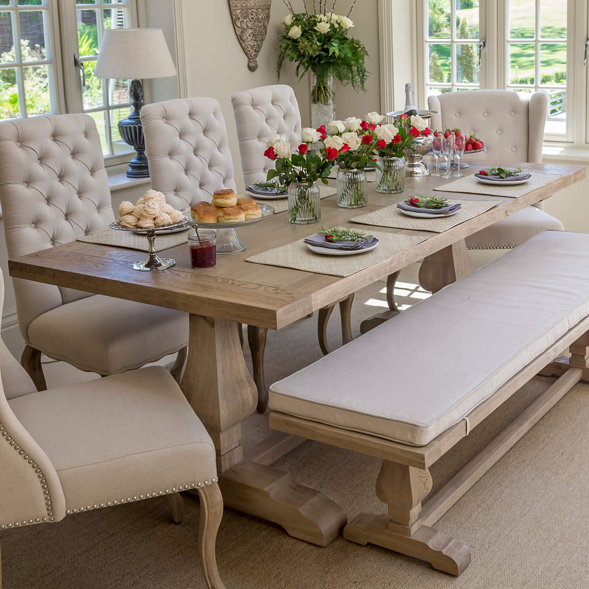 Belvedere Dining Table Weathered Oak Top La Residence Interiors