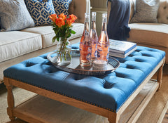 Upholstered Petit Royale Ottoman Coffee Table - Royal Blue Velvet