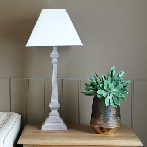 Daisy table lamp with grey wood base and cream shade