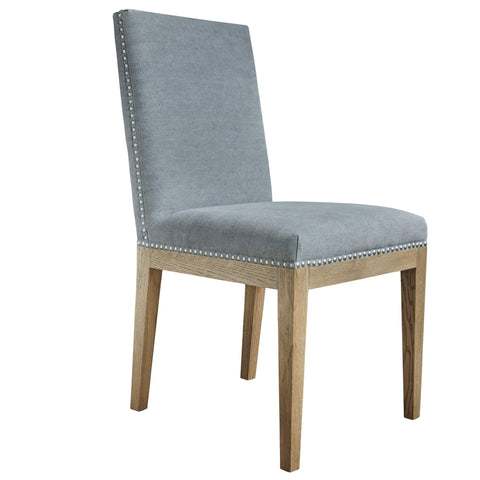Devonshire dining chair in dove grey with steel studded detail and weathered oak frame
