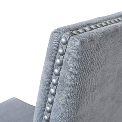 Devonshire dining chair in dove grey with steel stud detail