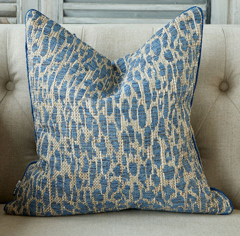 Blue Leopard Print Cushion