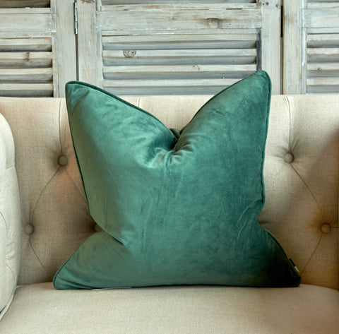 Small eucalyptus green velvet cushion