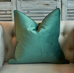 Large eucalyptus green velvet cushion