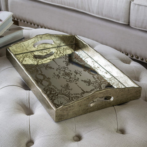 Rectangular Gold Tray with Handles