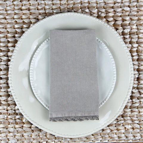 Grey Linen Napkin with lace trim