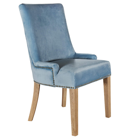 Hamilton dining chair in pale blue velvet