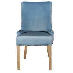 Hamilton dining chair in pale blue velvet front view