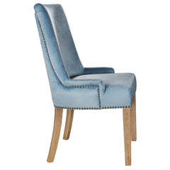 Hamilton dining chair in pale blue velvet side view