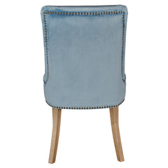Hamilton dining chair in pale blue velvet rear view