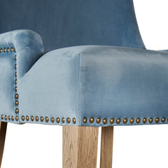 Hamilton dining chair in pale blue velvet brass stud trim detail