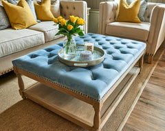 Upholstered Petit Royale Ottoman Coffee Table - Pale Blue Velvet