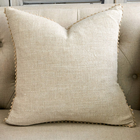 Linen Cushion with Pom Poms - Natural