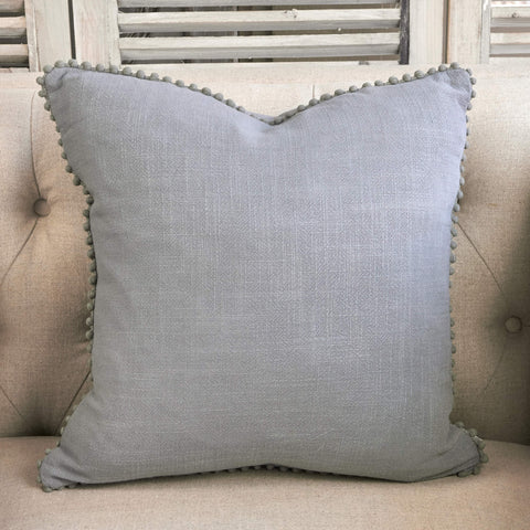 Grey Linen Cushion With Pom Poms