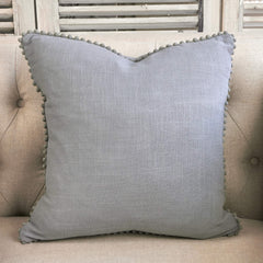 Linen Cushion With Pom Poms - Grey