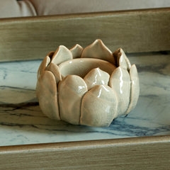 Grey glazed ceramic lotus flower shaped candle holder