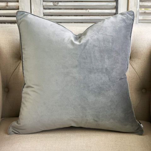 Luxe Velvet Cushion Grey - Large