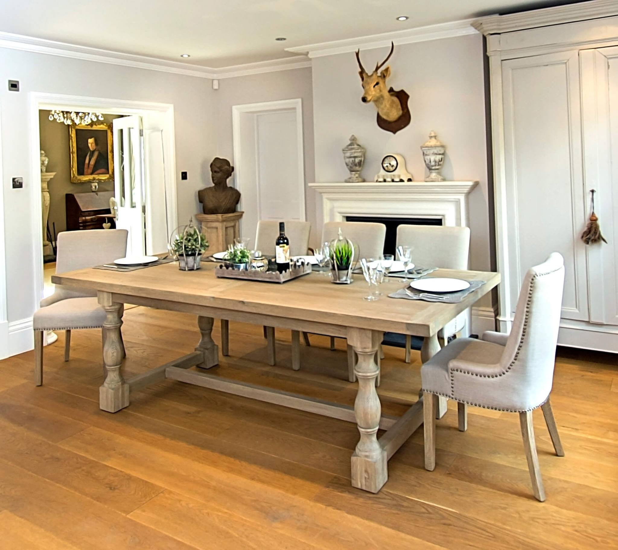 Large Refectory Style Dining Table Montague Weathered Oak Table