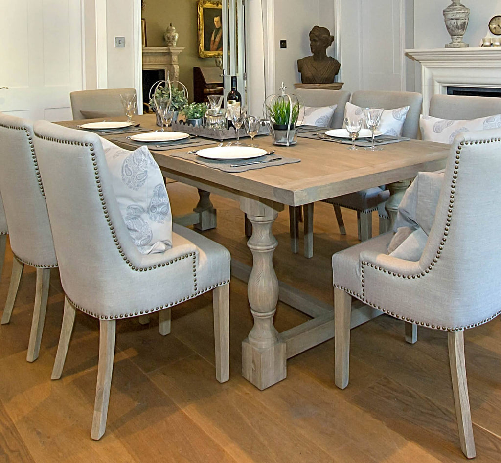 Montague Large Weathered Oak Rectangular Dining Table La