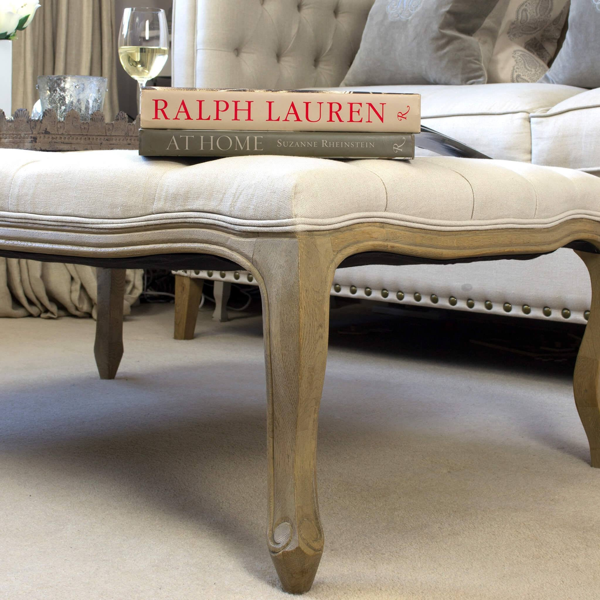 Ottoman Coffee Table Oatmeal Linen La Residence Interiors