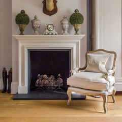 French Style Louis Armchair Solid Oak - Oatmeal
