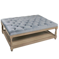 Upholstered Petit Royal Ottoman Coffee Table in Grey Velvet