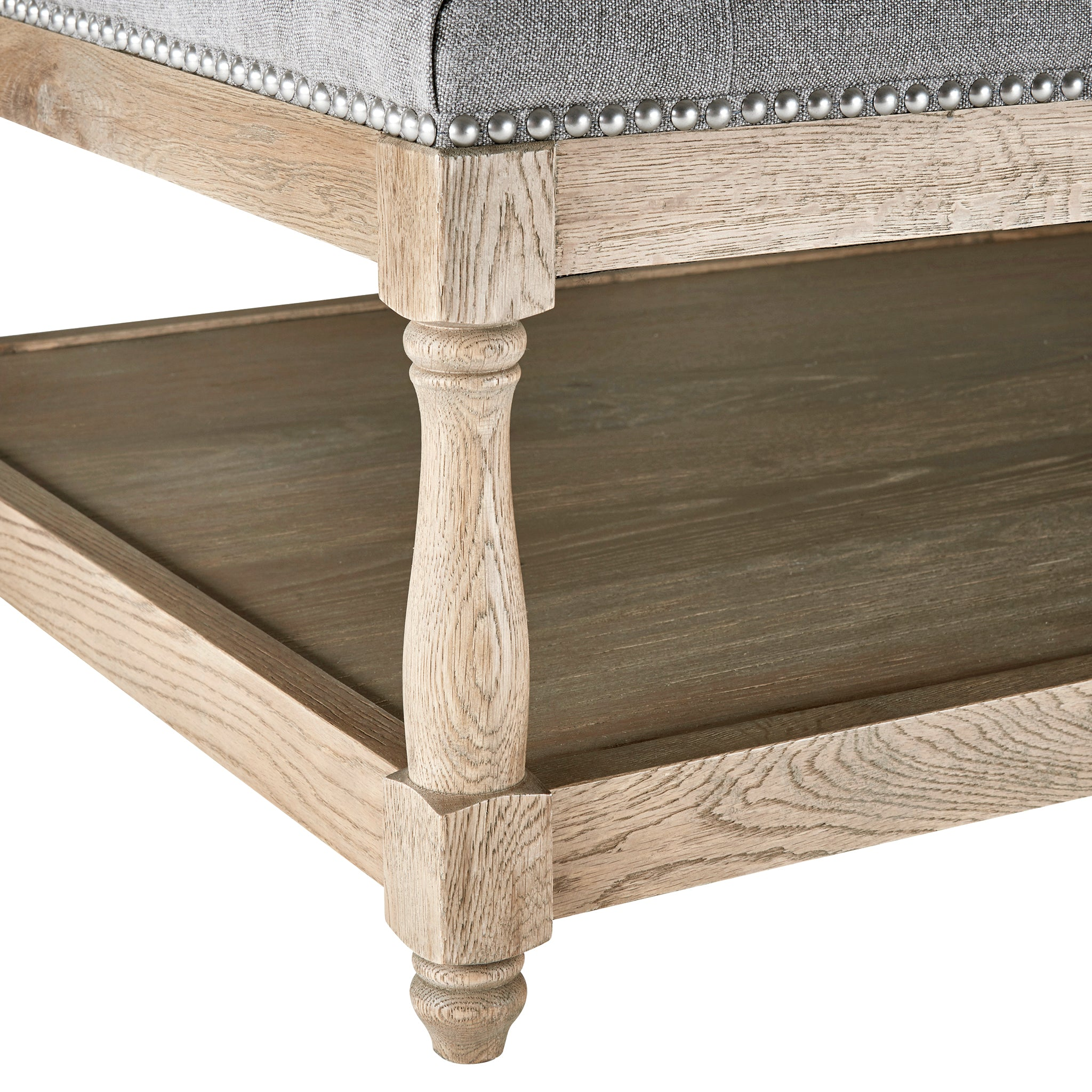 Upholstered Ottoman Coffee Table Dove Grey
