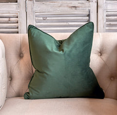 Pine green luxe velvet cushion small