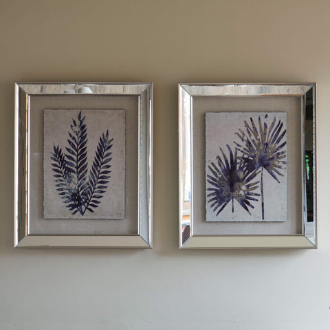 Set of 2 Framed Fern Mirrored Wall Art