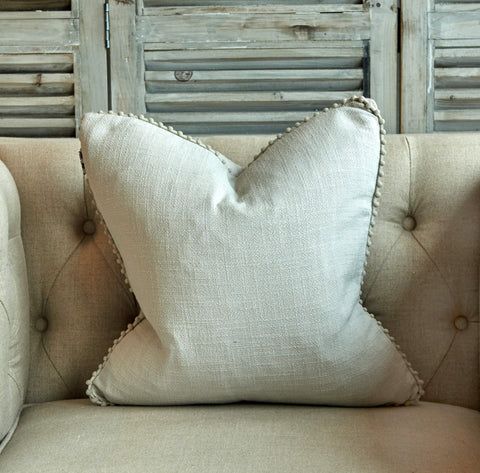 Linen Cushion with Pom Poms - Silver