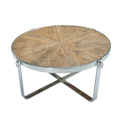 Sylvine Round Wood And Metal Coffee Table