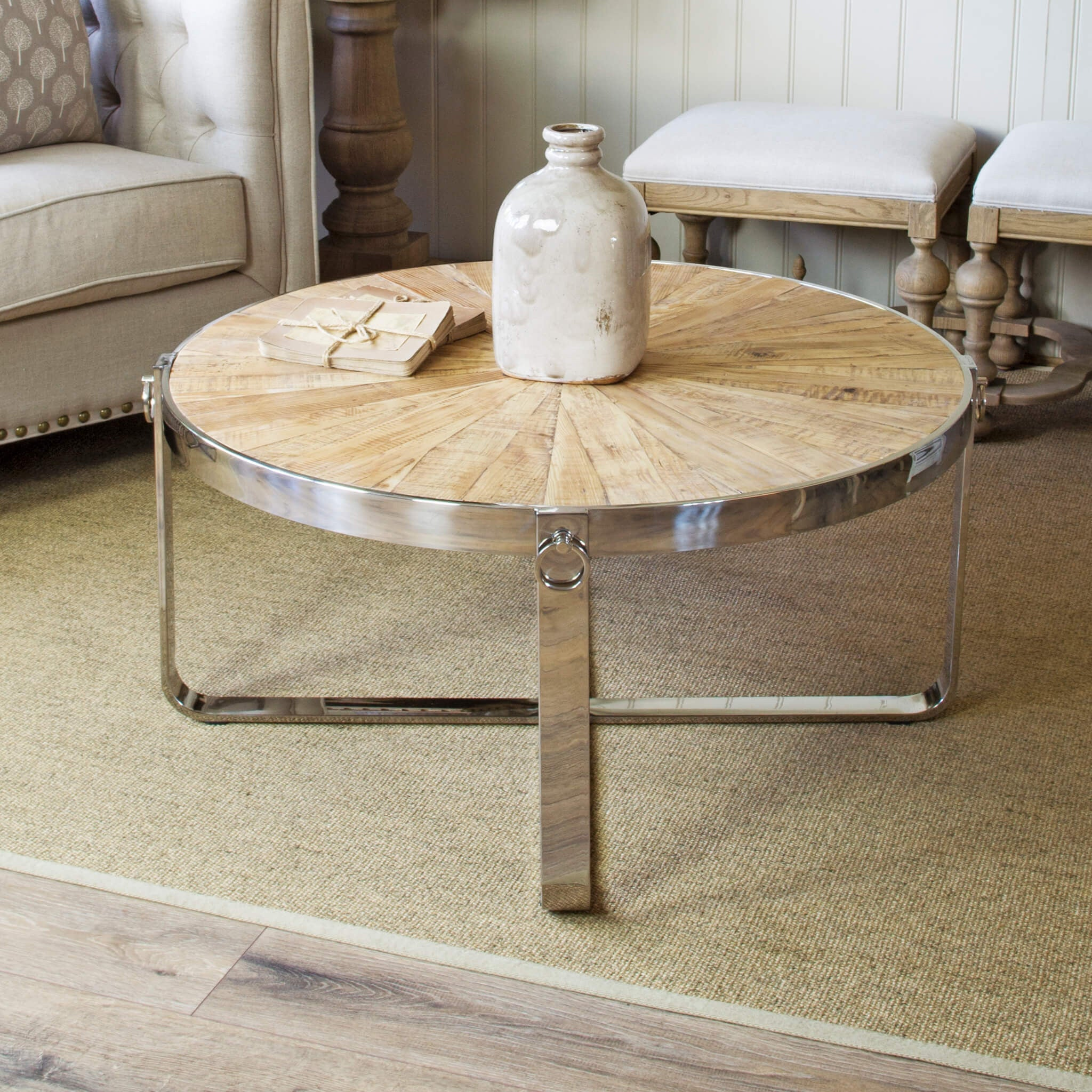 Sylvine Round Wood And Metal Industial Coffee Table