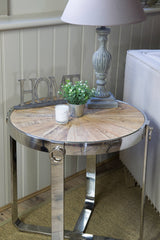 Sylvine Round Wood And Steel Side Table