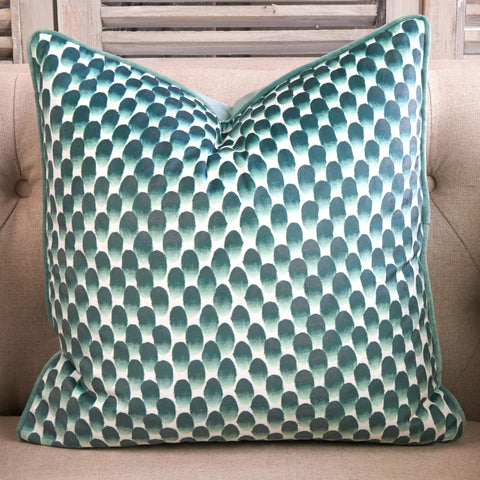 Thumb Print Effect Cushion - Green