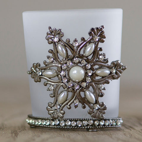 Jewelled Star Voltive Glass Tea light Holder
