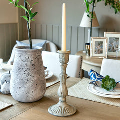 White Antique Candle Holder