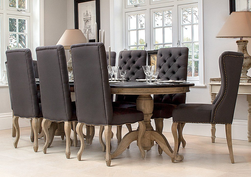 Upholstered Dining Chair | Burford Chair In Dark Grey Linen